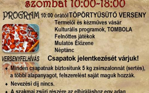 Balatonnagyberek Töpörtyű Fesztivál 2019 program